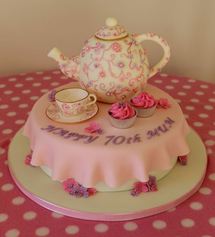Teapot And Teacup Cake 70th Birthday Cake With Cupcakes