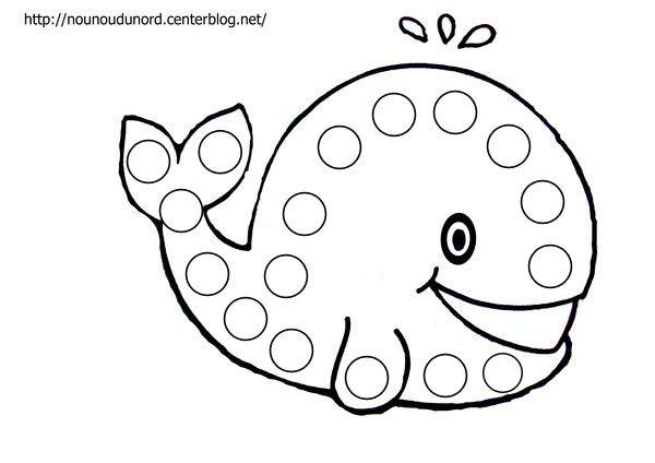 B comme baleine ! Coloriage à gommettes la baleine dessiné
