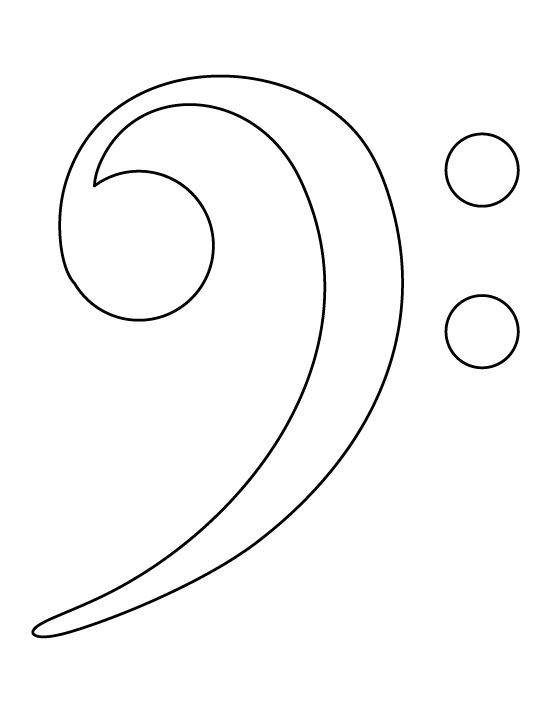 Bass clef pattern. Use the printable outline for crafts