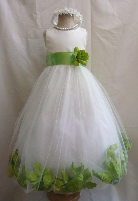 Flower Girl Dress IVORYGreen Apple PETAL Wedding Children