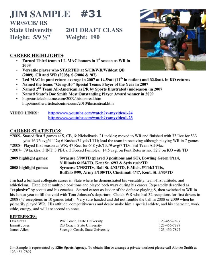 Sample Resume For College Football Player Resume Ixiplay Free  College Soccer Resume