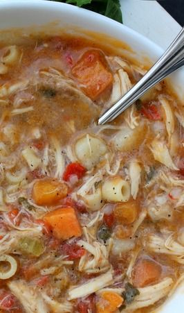 Sicilian Chicken Soup--- pretty good! I wouldnt add noodles if you plan on storing it in the fridge.: