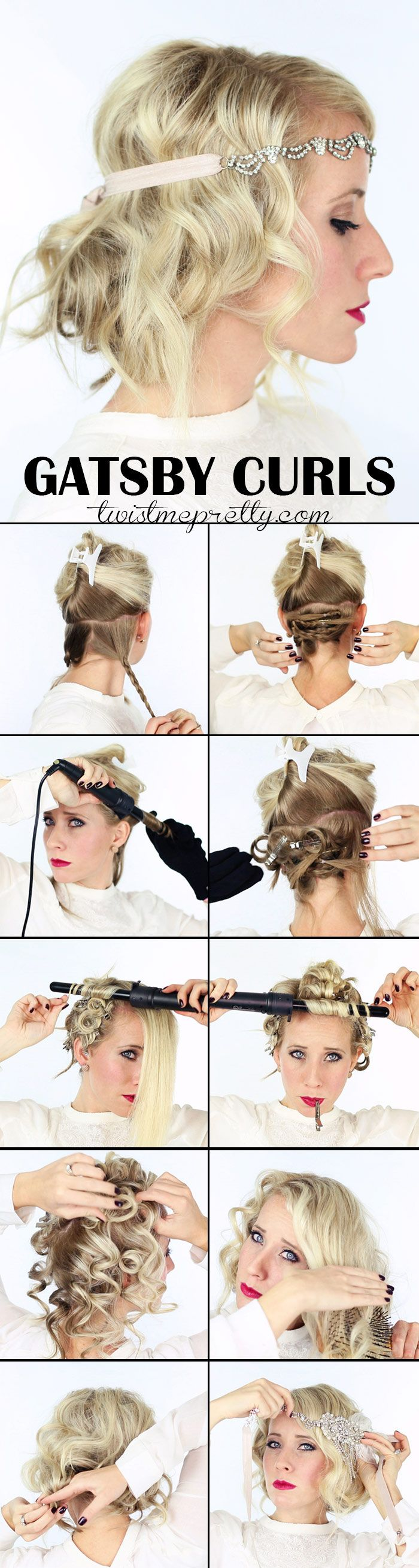 The perfect Gatsby Curls for your 1920 flapper girl costume!  Come checkout the vintage updo and watch the easy to follow video