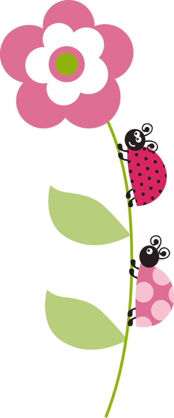 flower ladybugs and pink