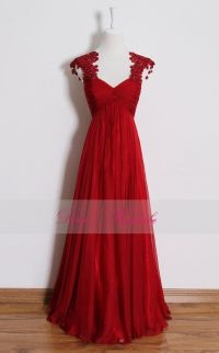 Red lace prom dress,long empire waist bridesmaid dresses ...