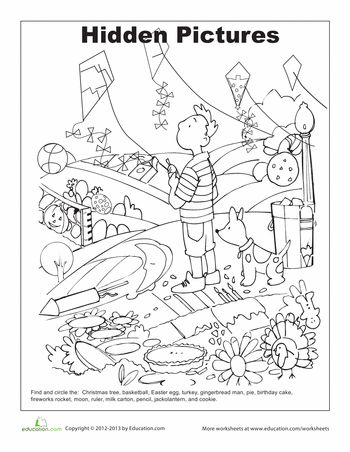 Hidden pictures, Worksheets and Coloring pages on Pinterest