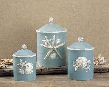 SEASHELL CANISTER SET EA  Coastal Kitchen  Pinterest