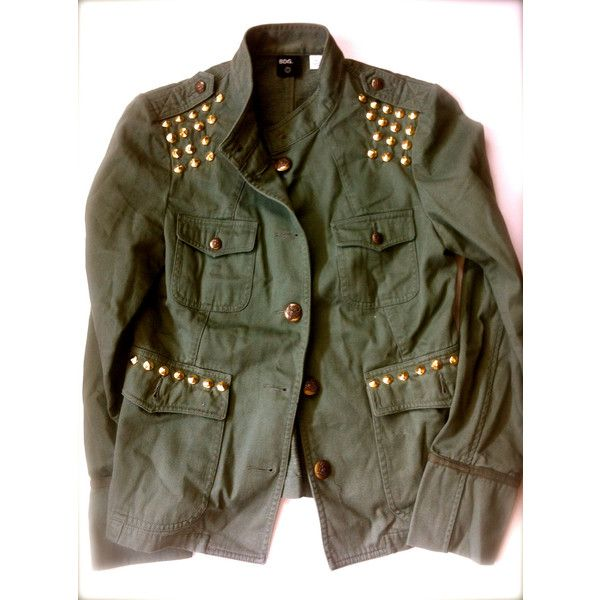 Womens Rock Military Jacket – Army Green with Gold ROCKER Cone Studs… found on