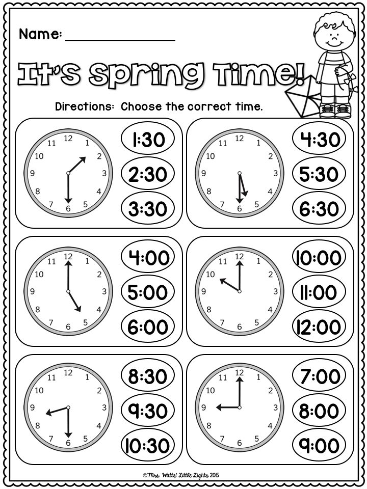 FREE! It's Spring Time! Telling Time to the Hour and Half