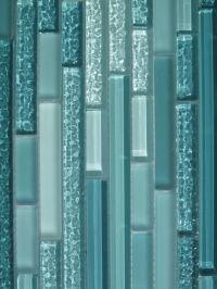 Details about Aqua Horizontal Mosaic Glass Tile / Kitchen ...