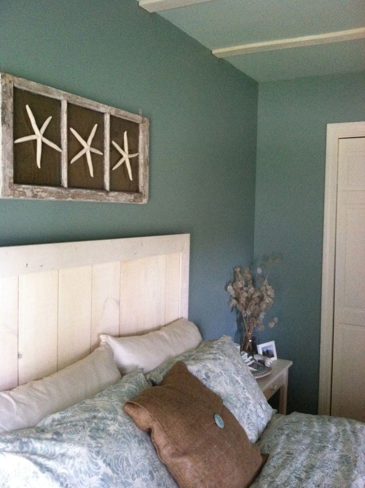 custom headboard with wall art! DIY beach bedroom