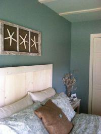 custom headboard with wall art! DIY beach bedroom ...