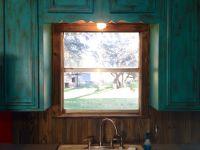 Barnwood backsplash to match my rustic turquoise cabinets ...
