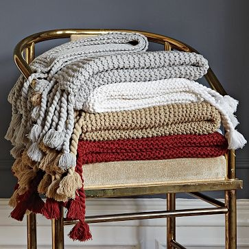 bedroom chair with blanket small wingback slipcovers chunky tassel throw #westelm silver gray   want. pinterest tassels, the grey and o'jays