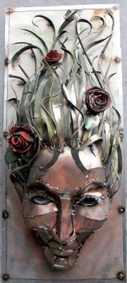 roses in hair metal sculpture