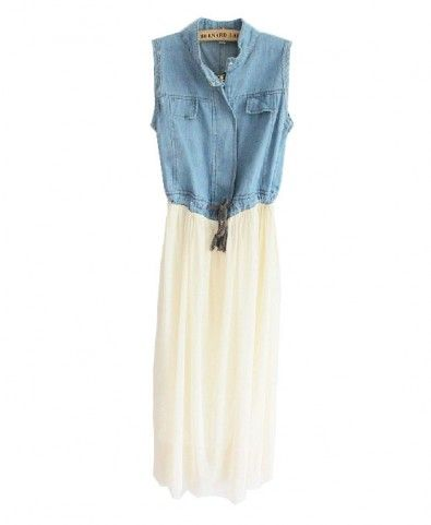 denim dress with chiffon insert