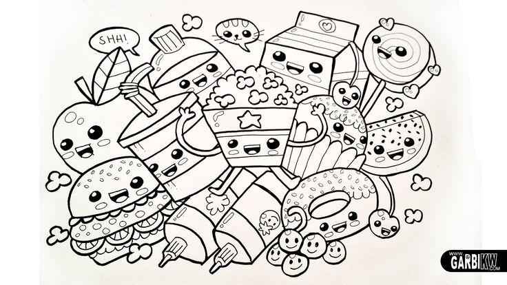 kawaii chibi dancing food black & white line drawing