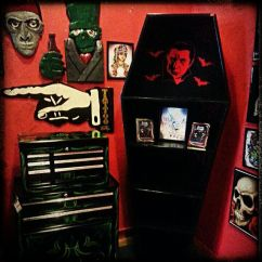 Living Room Decorating With Dark Furniture Green Wall Paint Coffin Bookcase Www.spitfireinteriors.com   Horror Decor ...