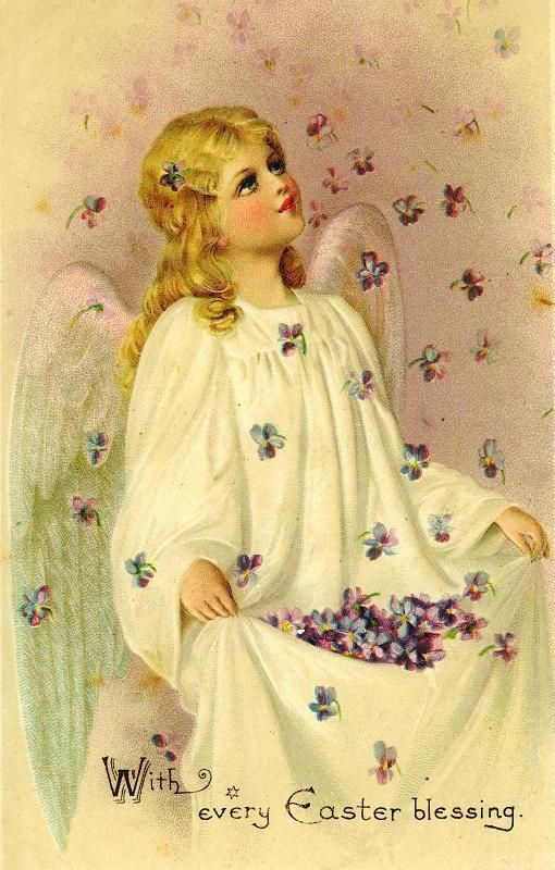 Download Free Vintage Easter Angel Cards  Beautiful