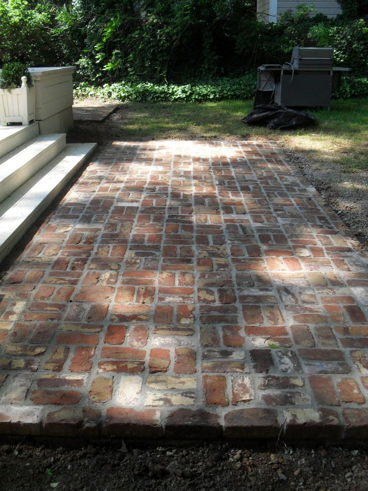 reclaimed brick patio  reminder to reuse the bricks from the old stack chimney  Home details  Pinterest  Brick Patios Bricks and Patio