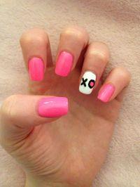 Pink acrylic nail art XO valentine's day   Girls nails ...