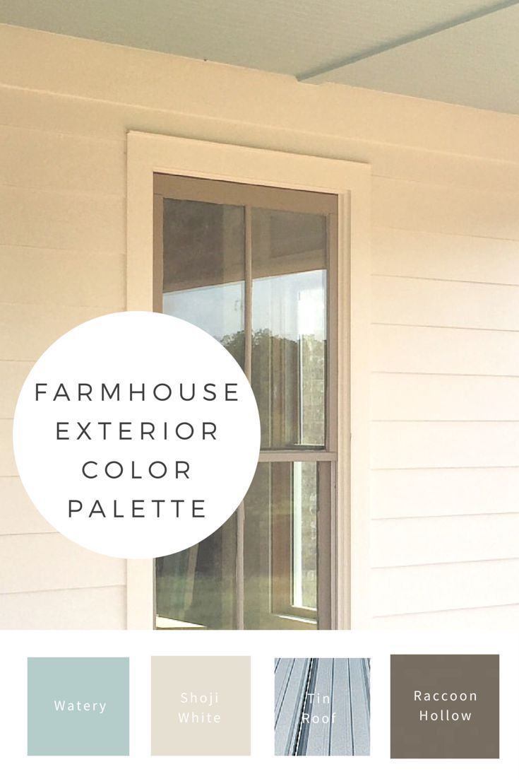 My favorite color palette for a farmhouse exterior with a tin roof. Porch ceiling Watery blue, Shoji white, and window sashes in
