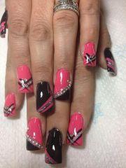 pink black silver nails nails