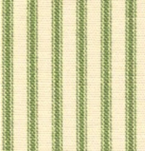 French Country Apple Green Ticking Stripe Curtain Fabric