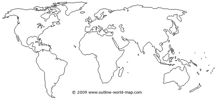 Outline World Map With Medium Borders White Continents And