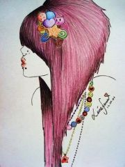 emo hair drawings and girl