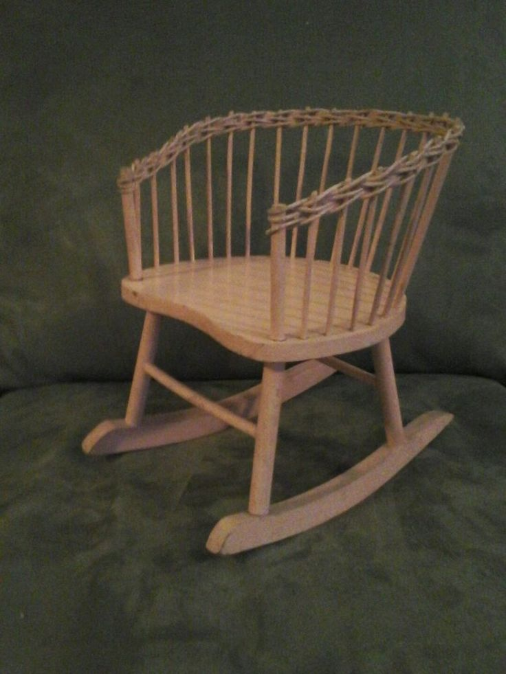 Vintage Doll Rocking Chair Pink Wicker Spindle Barrel Back