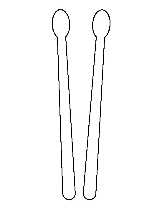 Drum sticks pattern. Use the printable outline for crafts
