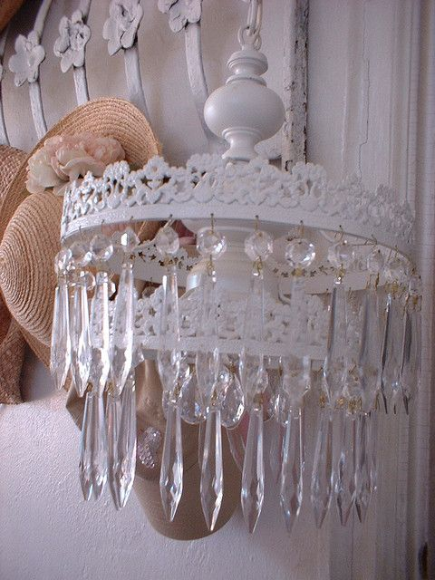 Red Shabby Chic Crystal Drop Chandelier