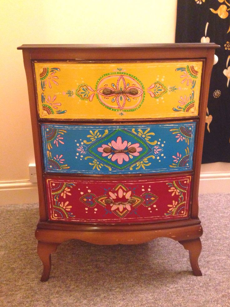 IndianMoroccan Inspired free hand painted bedside table