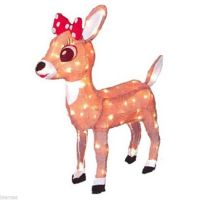 """24"""" LIGHTED TINSEL RUDOLPH CLARICE REINDEER Outdoor"""
