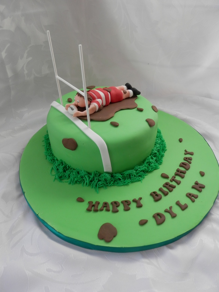 Rugby Themed Birthday Cake From Truly Tasty Cupcakes