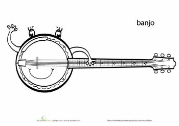 Banjos, Worksheets and Coloring pages on Pinterest
