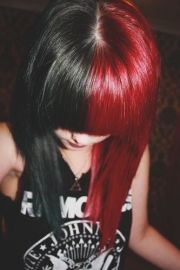 black and red hair blunt bangs