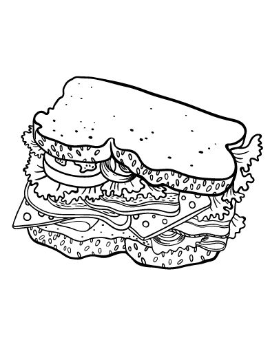 Printable sandwich coloring page. Free PDF download at