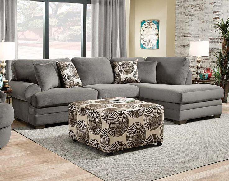Gray Plush Couch with Chaise  Knockout Charcoal 2 PC