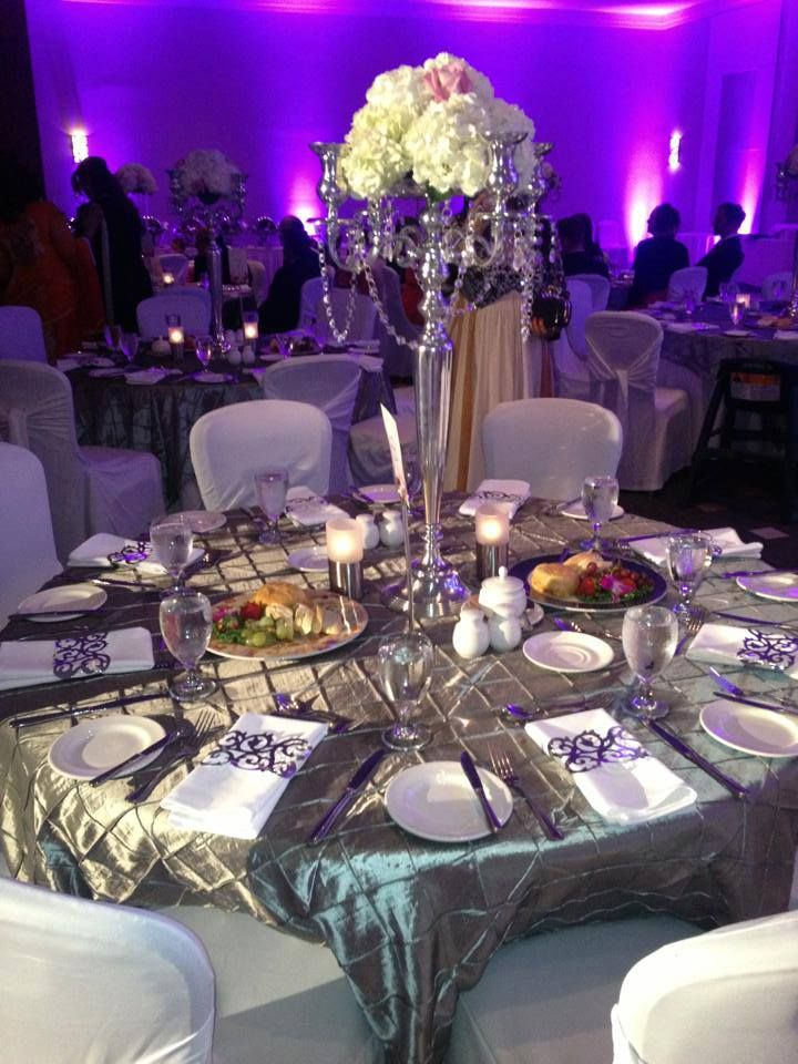chair covers ivory swivel habitat the coordinated table decor, grey with a touch of pink. silver/gray pintuck linen. laser ...