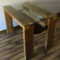 Zinc Top Kitchen Island Tall Trash Can Size Reclaimed Wood Dining Table. Glass Top. ...