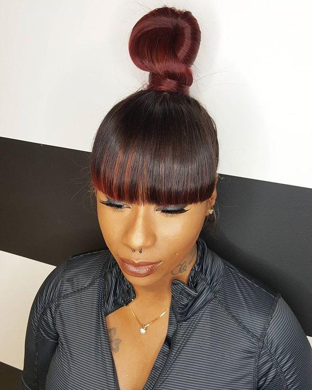 Bun With Bangs Weave : bangs, weave, Ideas, Bangs, Hairstyle, Weave