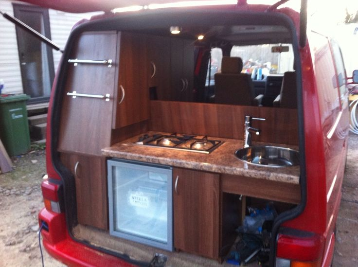 Clever rear kitchen  photos and build thread  0 Van Dwelling  Pinterest  Campers Cabinets