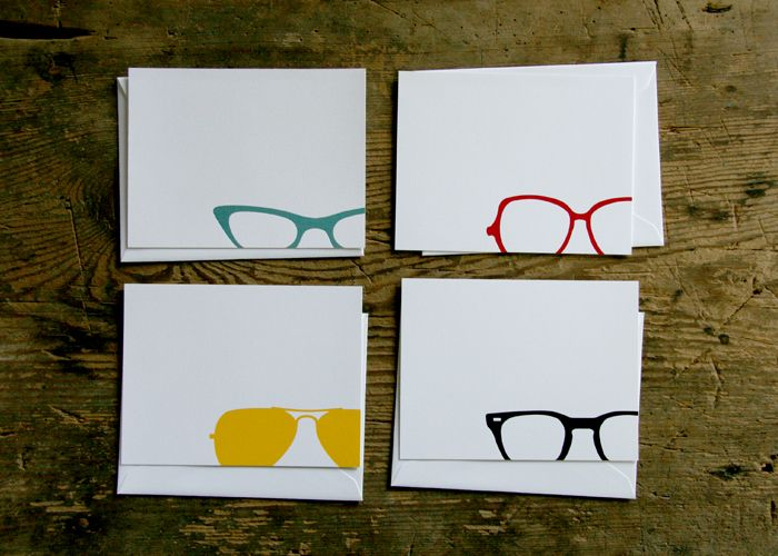 Eyewear Note Cards Red Bird Ink I Think Theses