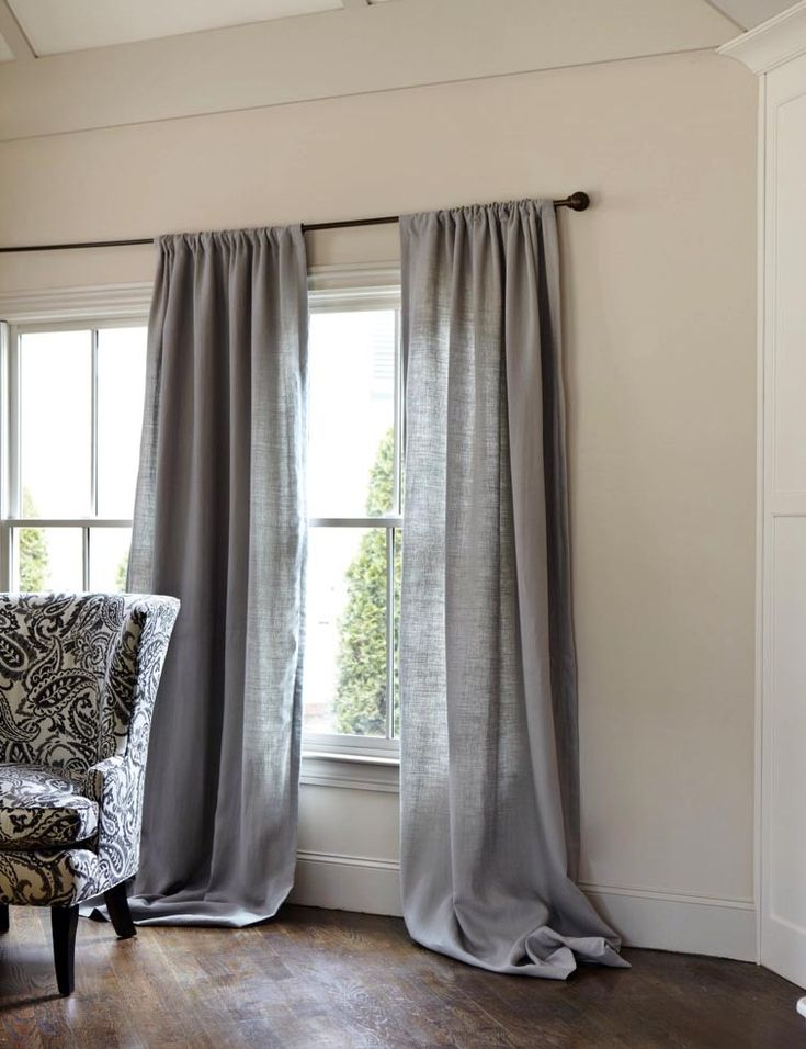 Gray linen curtains  gray  Pinterest  The floor Grey