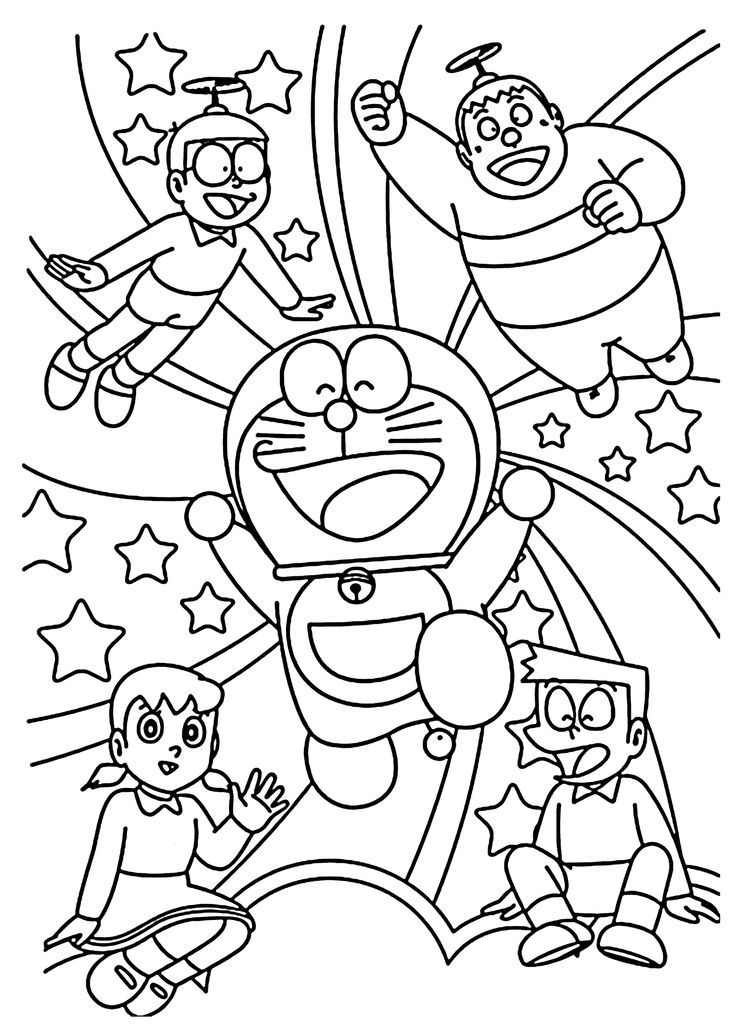 Doraemon and friends coloring pages for kids, printable