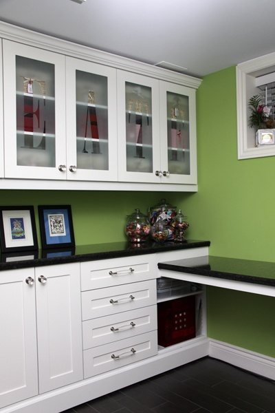 craft room with builtin desk and tons of storage Love the