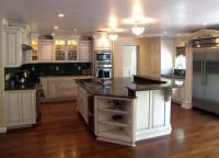 kitchen hickory floor with honey oak cabinet - Google ...