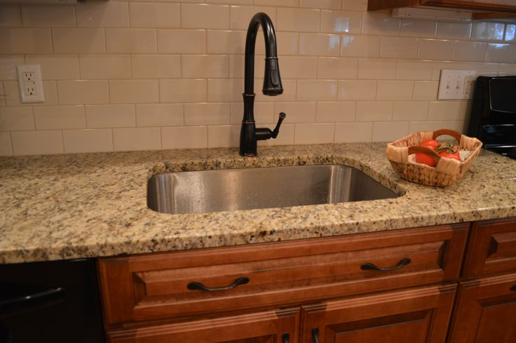 Cream Kitchen Subway Tile Brown Cabinets Appealing
